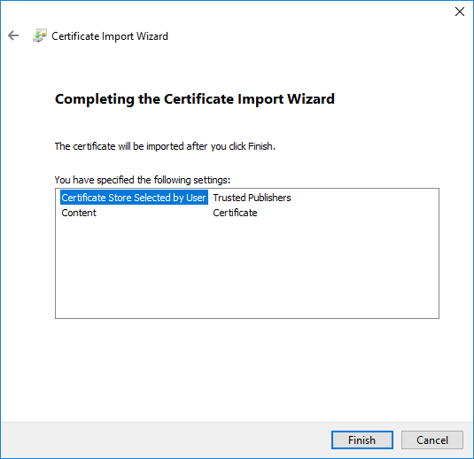 Certificate Import Wizard Verification