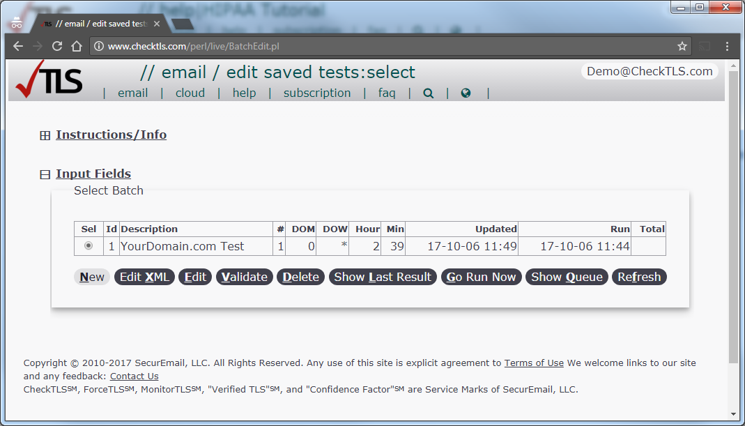 //email/edit saved tests:select